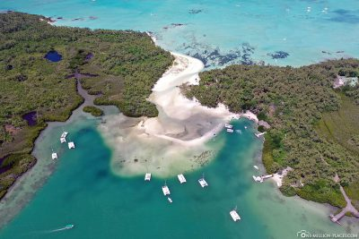 The island of Ile aux Cerfs in Mauritius