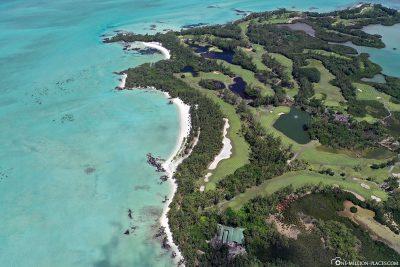 The island of Ile aux Cerfs in Mauritius