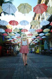 Bunte Regenschirme auf Mauritius