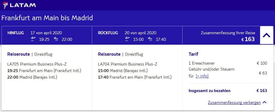 LATAM, Business Class, Low price, Direct flight, Frankfurt, Madrid