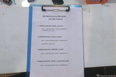 Die Preise der SIM Karten in Vietnam