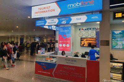 Der Stand für die SIM Karten am Flughafen in Hanoi