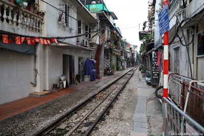 The railway line through the old town