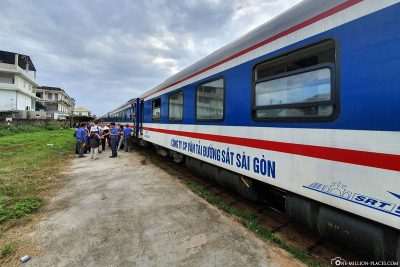 Arrival at the train station in Hue