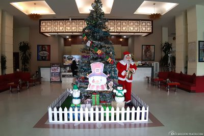 The Christmas-decorated reception