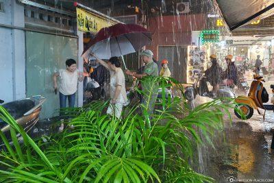 Ein heftiger Regenschauer