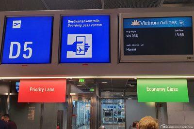 Abflug am Flughafen Frankfurt