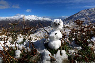 Unser selbstgebauter Schneemann