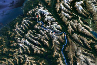 Die Straße nach Milford Sound in Google Maps