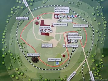 Eine Karte der Wanderwege auf dem Brocken