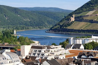 View of Ehrenfels Castle and the Rhine