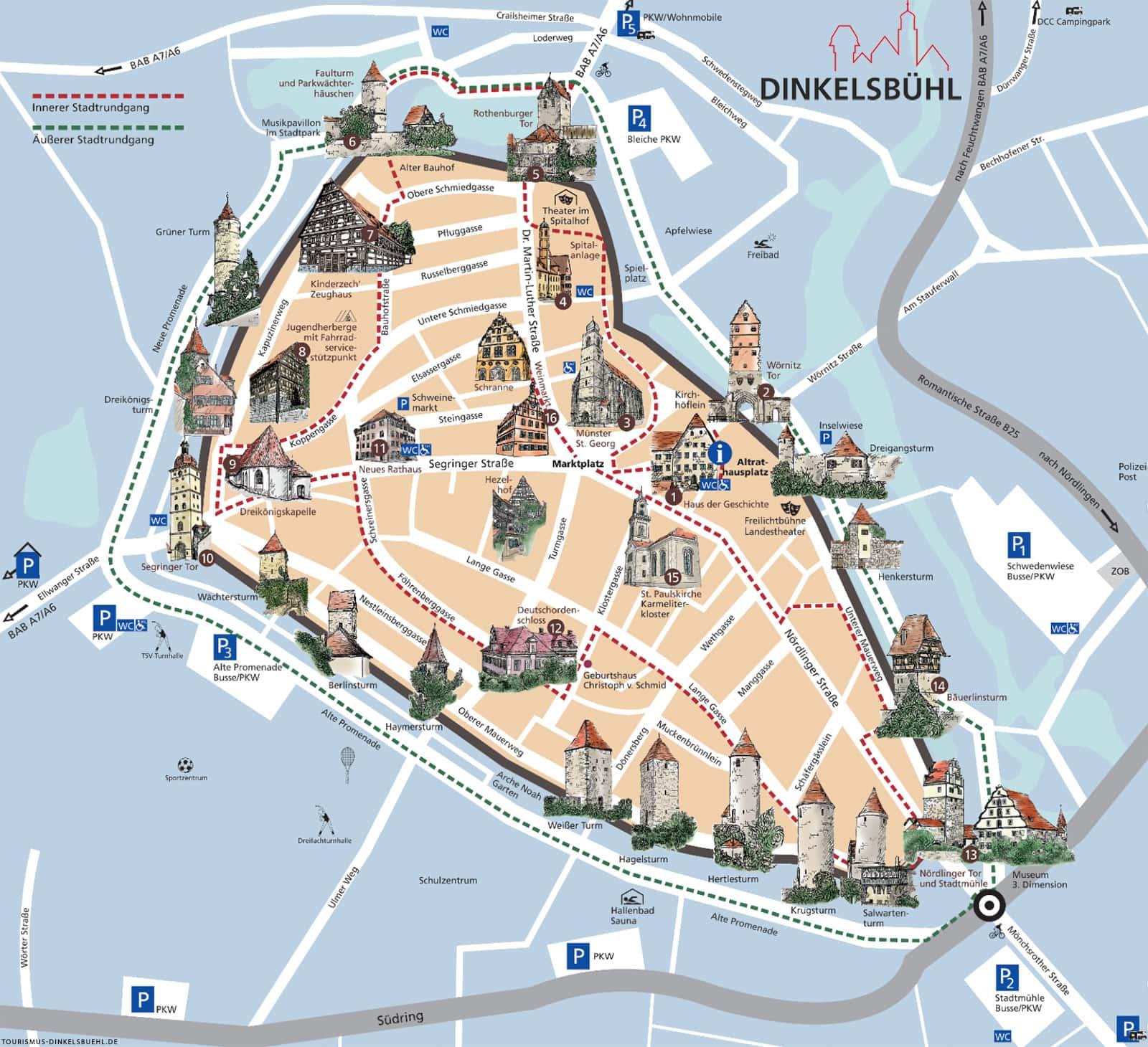 Dinkelsbühl, Karte, Stadtplan, Sehenswürdigkeiten, Download, Reisebericht, Stadtrundgang
