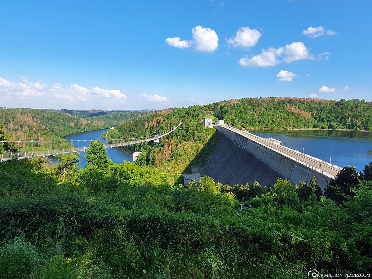Suspension rope bridge Titan RT, Rappode Dam, Longest suspension bridge in Germany, Saxony-Anhalt, Germany, travel report