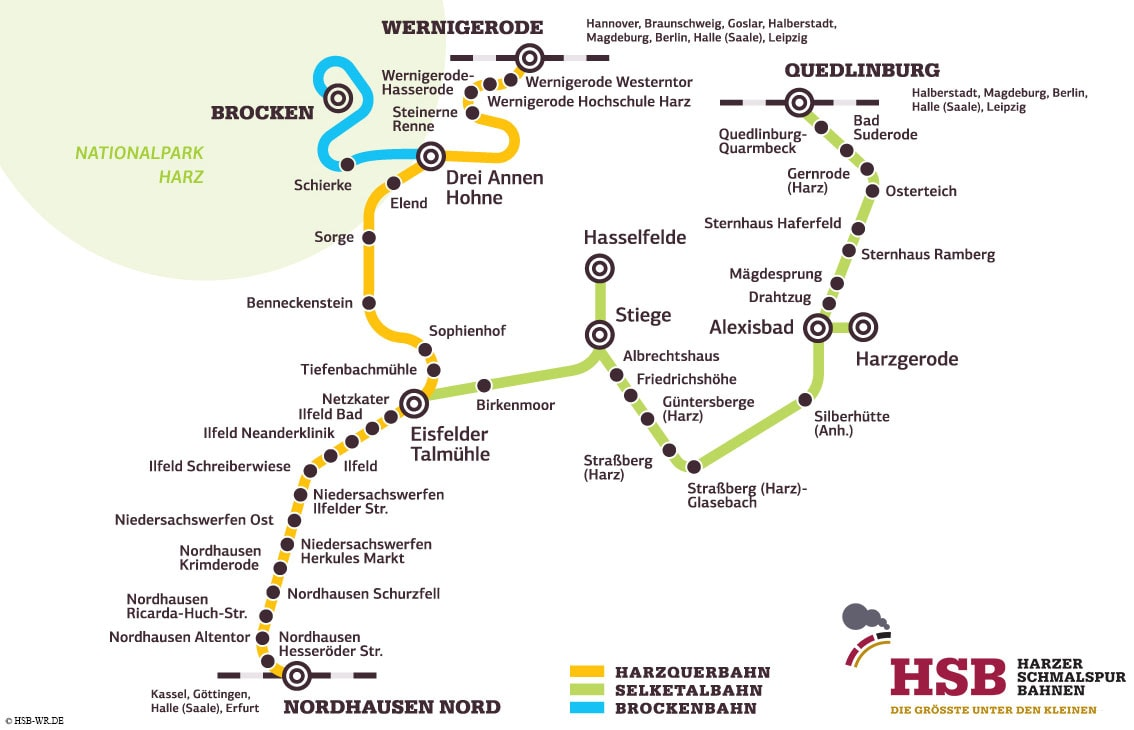 Harznarrow gauge railways, map, map, route network, travel report