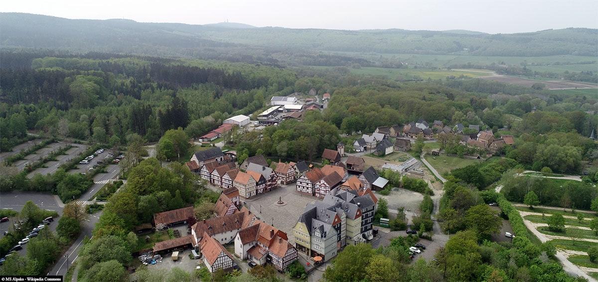 Open-air museum Hessenpark, aerial photo, travelreport, blog