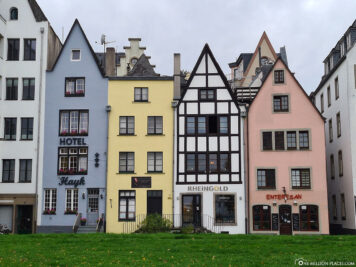 Row of houses on the banks of the Rhine
