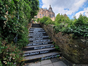 Ludwig-Bickell-Treppe with poem about Marburg