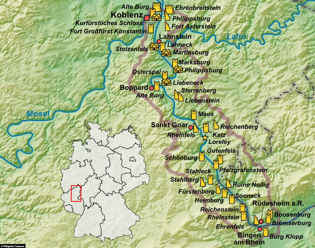 Map, Plan, Upper Middle Rhine Valley, World Heritage, UNESCO, Travel Report, Shipping