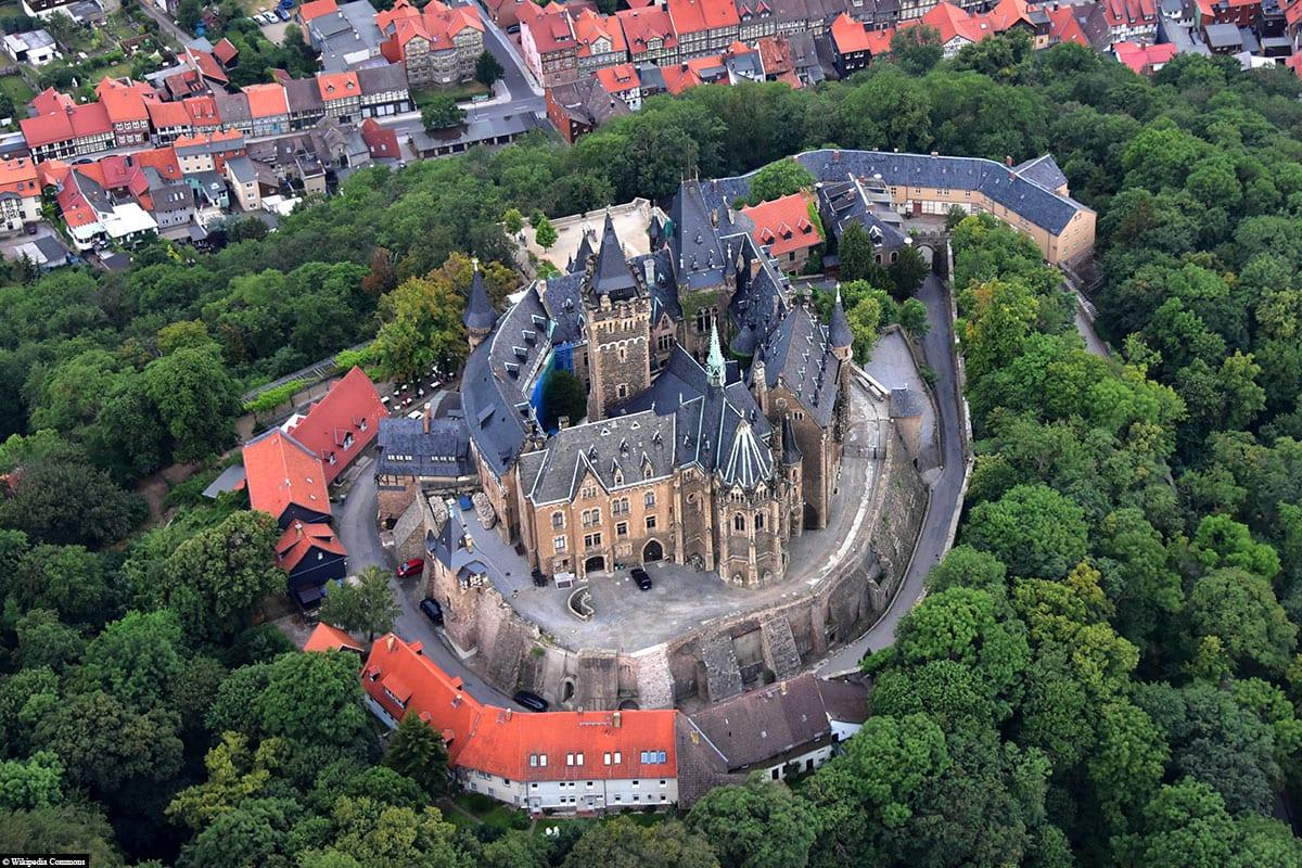 Schloss Wernigerode, aerial view, travelogue