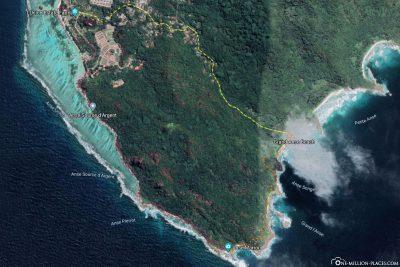 Die Wanderroute unserer Tour zum Anse Marron