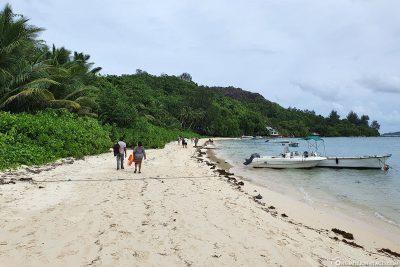 The beach of Cerf Island