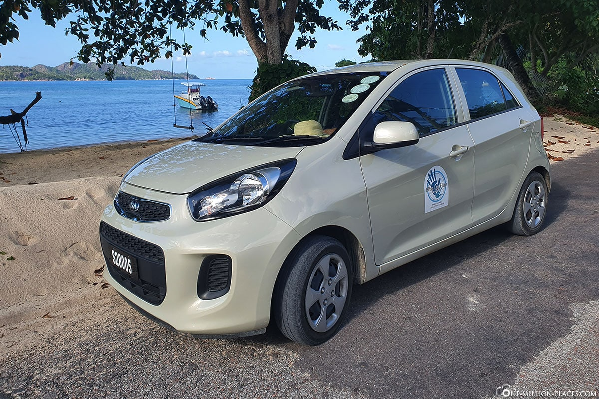 car rental, car, island of Praslin, Seychelles, travel report