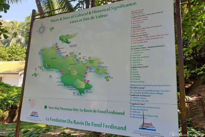 Eine Karte von der Insel Praslin