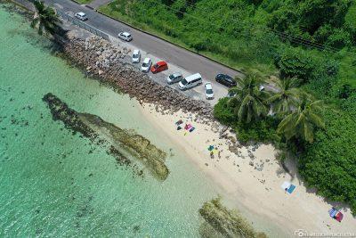 Der Parkplatz am Anse Royale