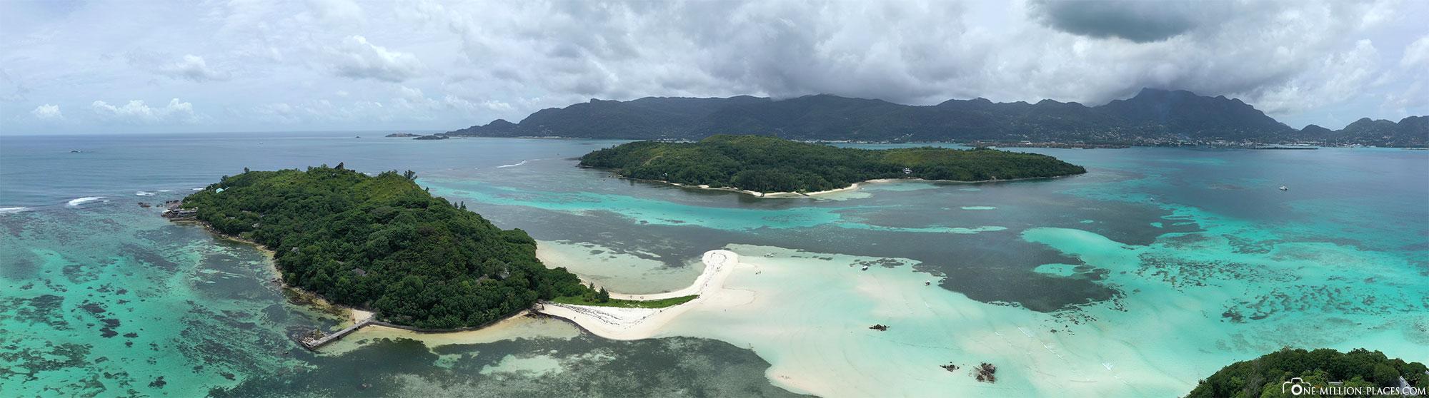 Panoramic image, Sainte Anne Marine National Park , Mahé, Seychelles, Drone shot, Tour, Travelreport
