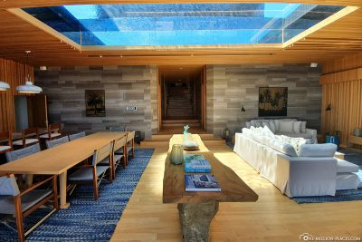The pool above the living room