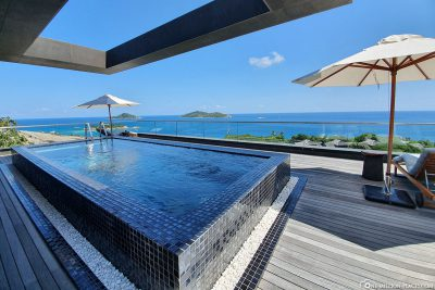 The upstairs pool