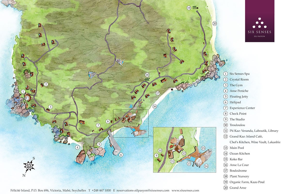 Plan, Map, Six Senses Zil Pasyon, Felicite Island, Seychelles, Travelreport