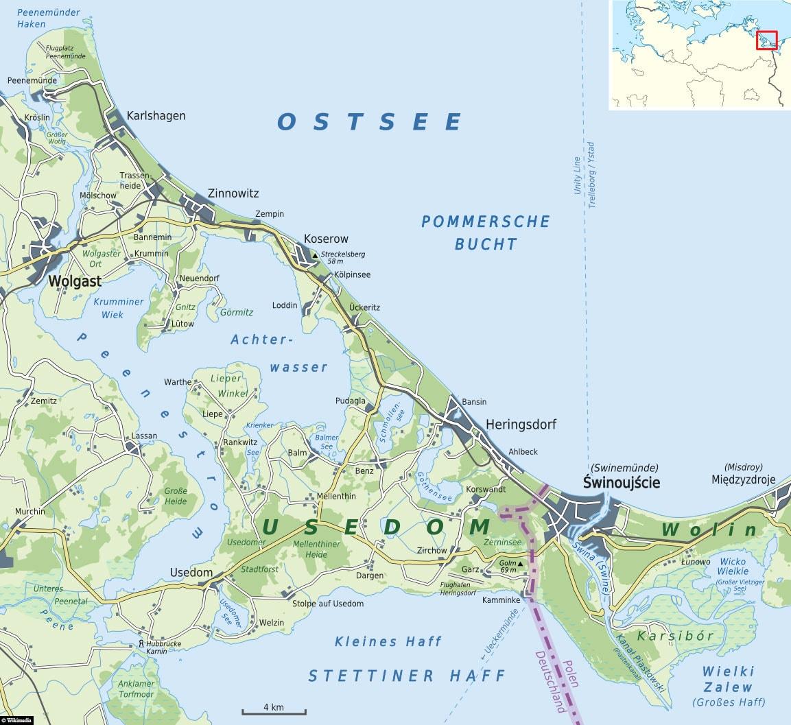 Usedom, Karte, Insel, Deutschland
