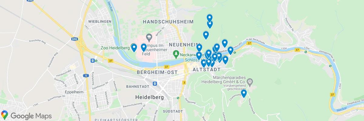 Heidelberg, sights, attractions, map