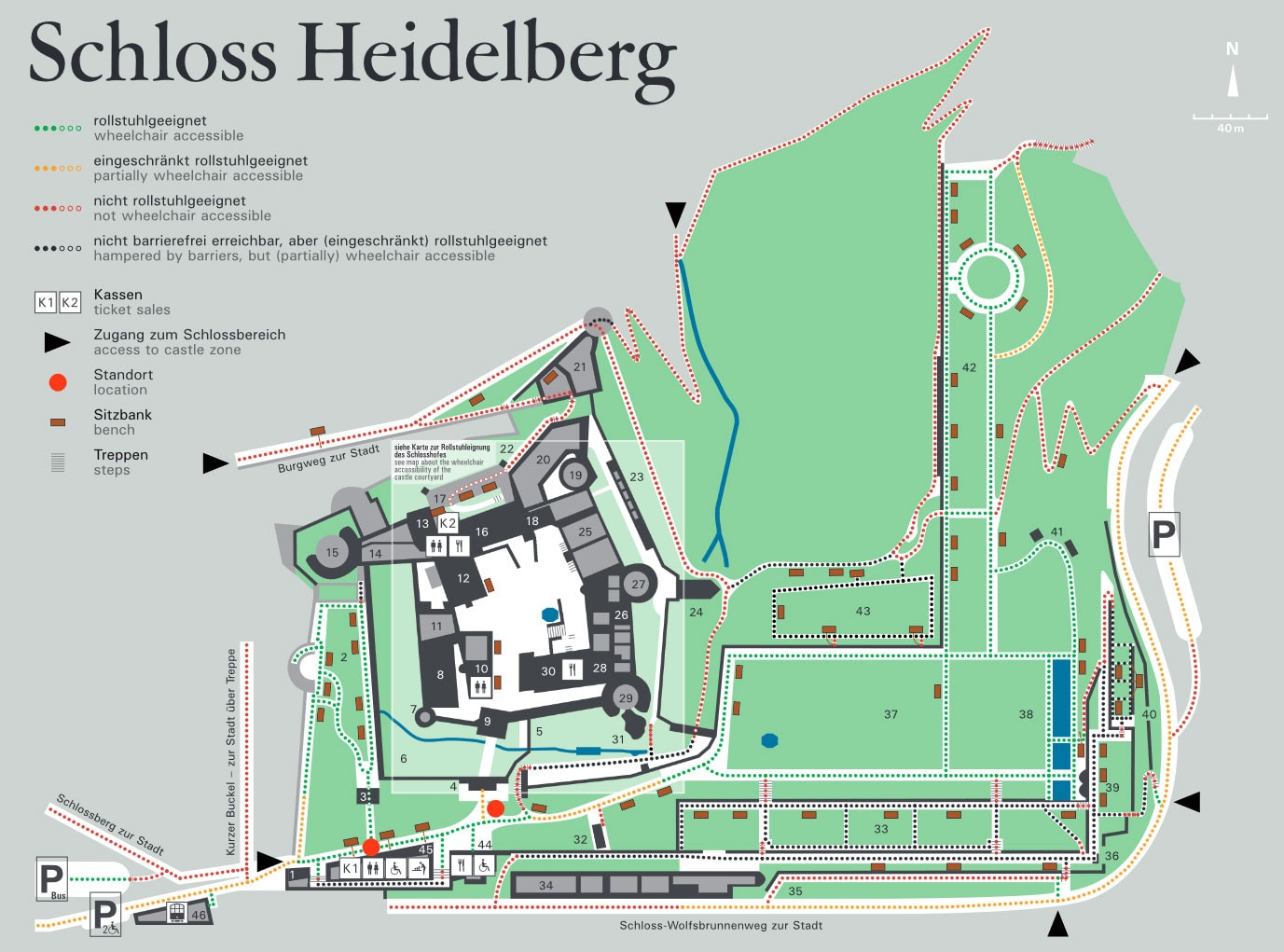 Heidelberg Castle, paths, stroller, wheelchair, map