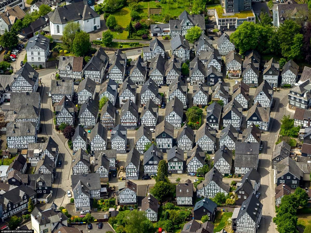 Freudenberg, NRW, Fachwerkhäuser, Drohnenbild
