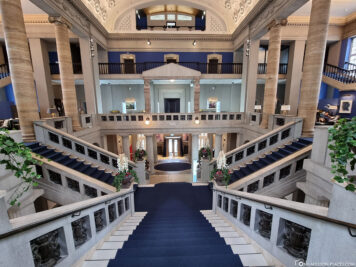 The imposing staircase in the atrium