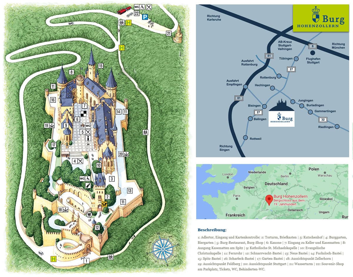 Hohenzollern Castle, Map, Map, Directions, Travelogue