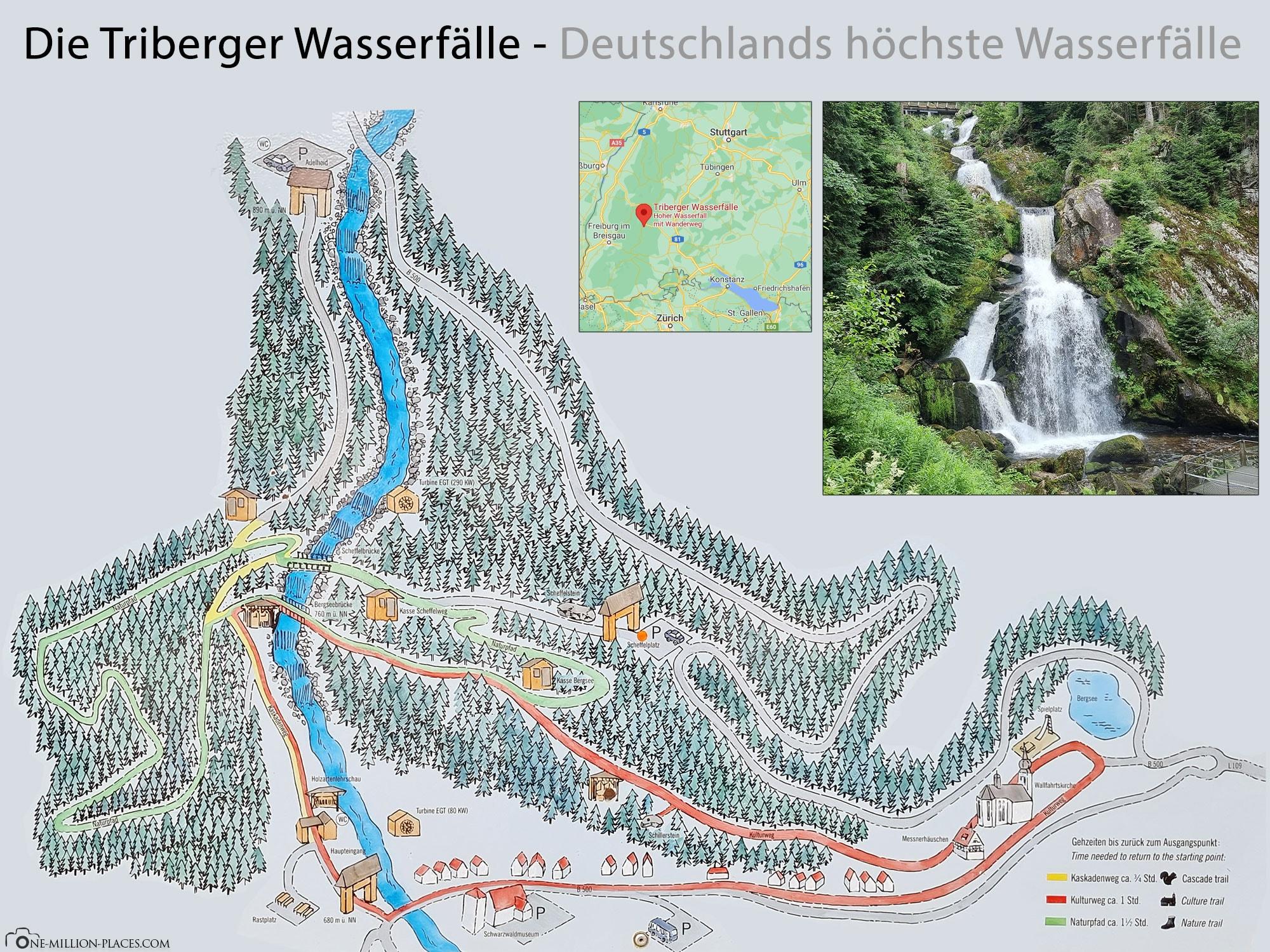 Triberg Waterfalls, Map, Map, Hiking Trails