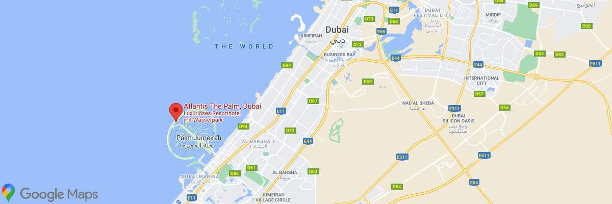 Atlantis the Palm, Dubai, Location, Map