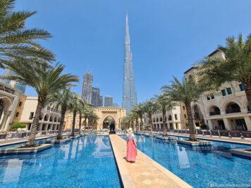 Blick auf den Burj Khalifa vom Palace Hotel