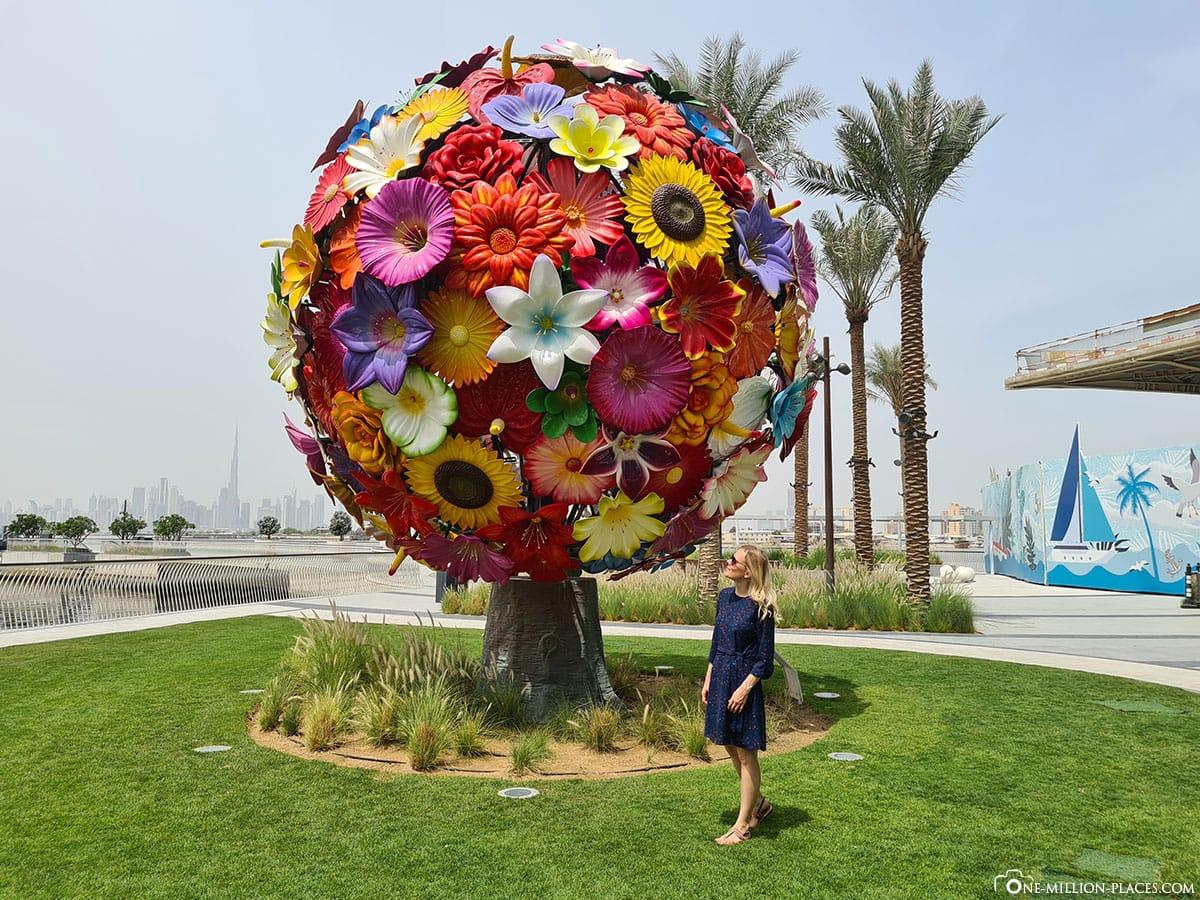 Dubai Flower Tree, Dubai Creek Harbour, Fotospot, Blumenbaum, Sehenswürdigkeit