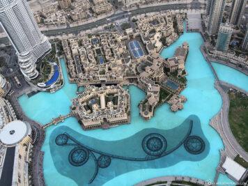 Blick auf den Dubai Fountain & den Lake Burj