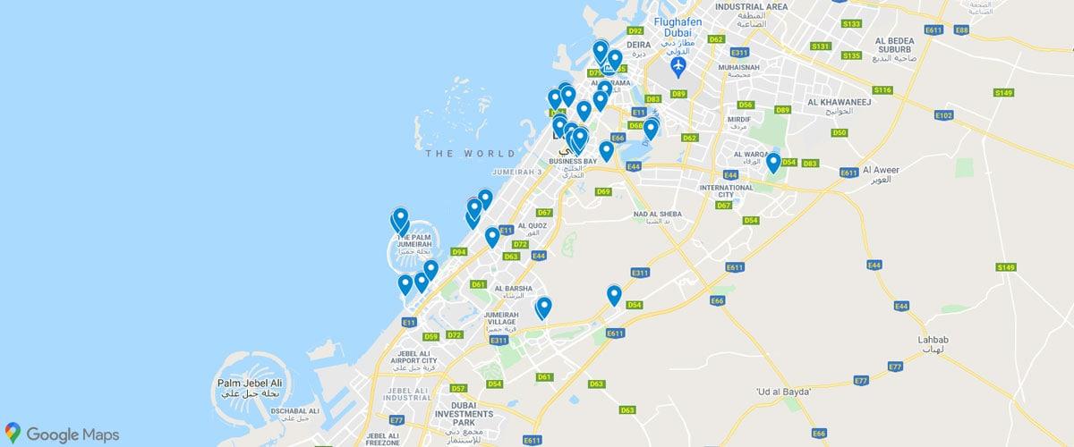 Dubai, Sehenswürdigkeiten, Karte, Attraktionen