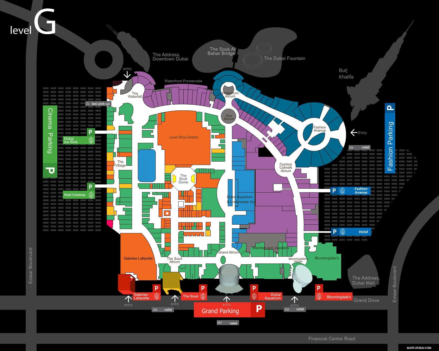 Dubai Mall, Karte, Plan
