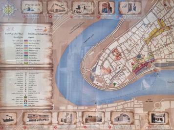 Eine Karte der Souks in Old Dubai
