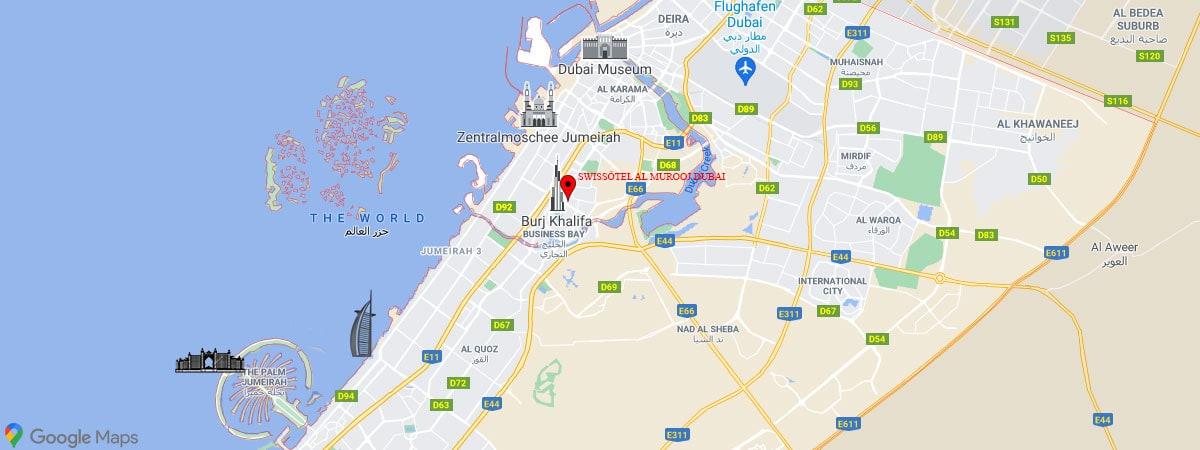Swissôtel Al Murooj Dubai, Lage, Karte