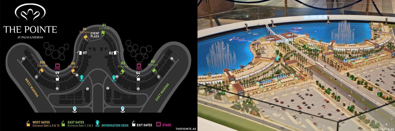 Map, Plan, The Pointe at Palm Jumeirah, Dubai