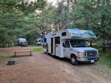The campsite at Algonquin Provincial Park