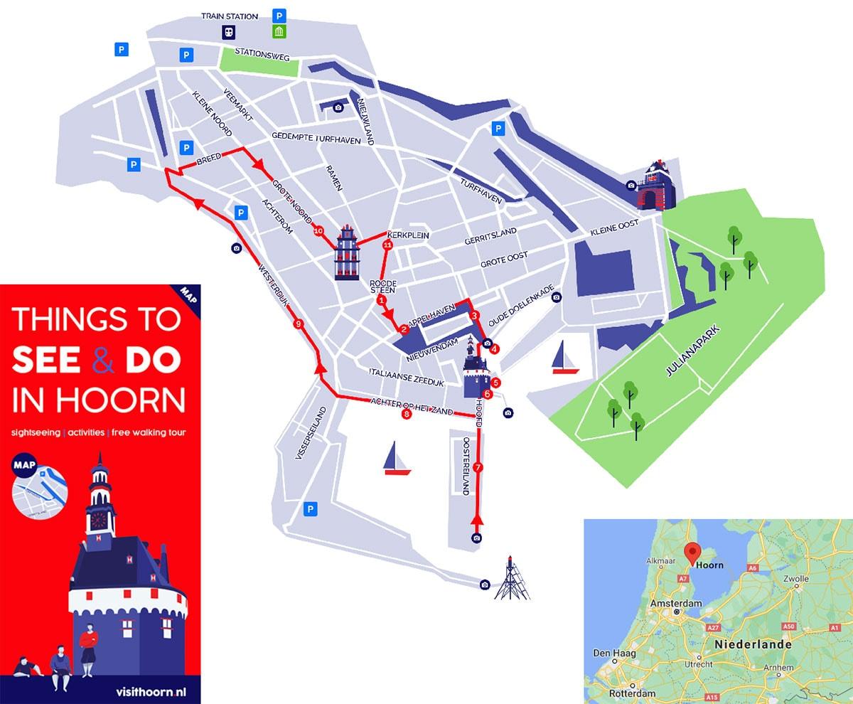 Hoorn, Niederlande, Karte, Rundweg, Sehenswürdigkeiten